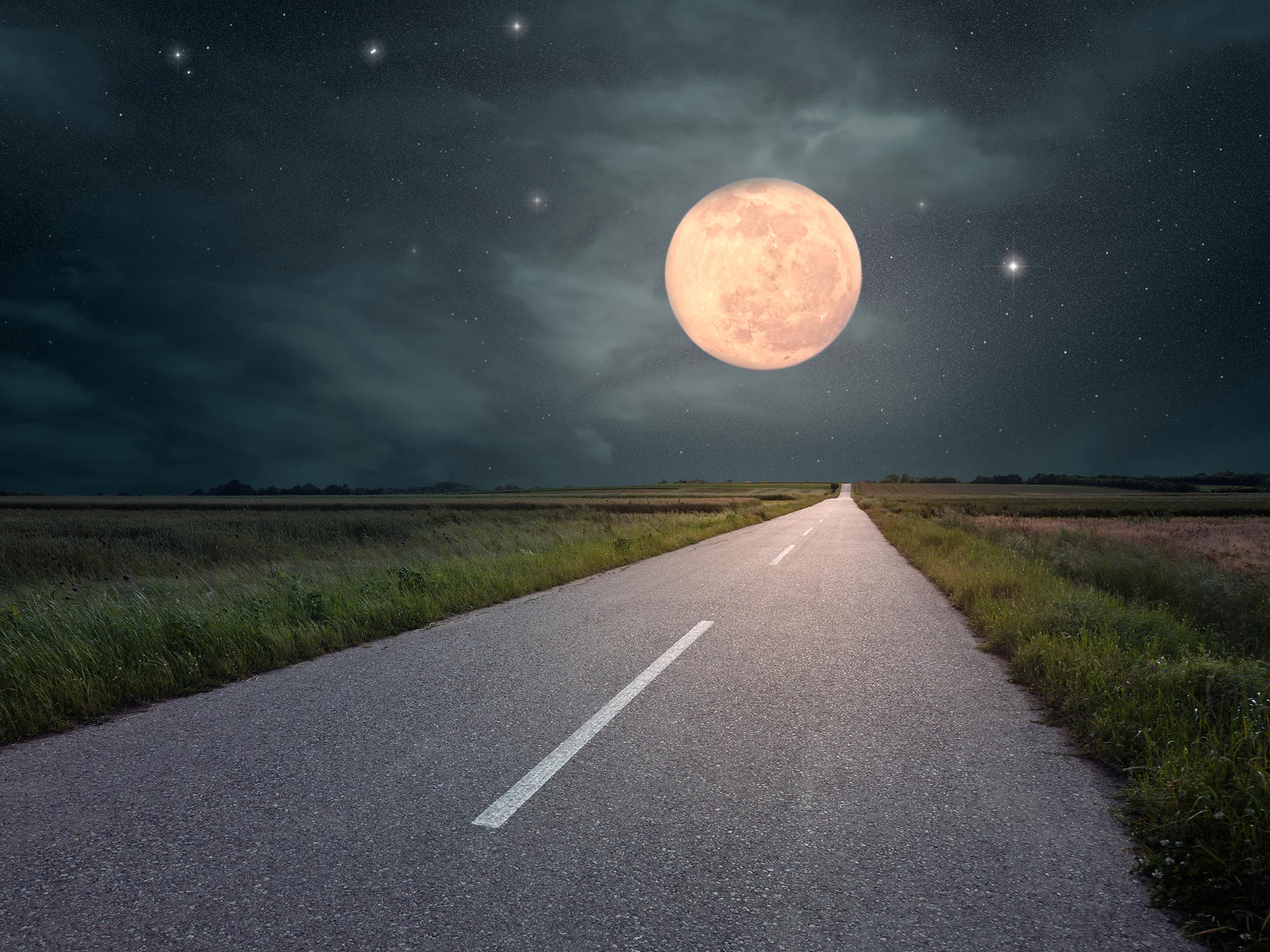 road moon horizon